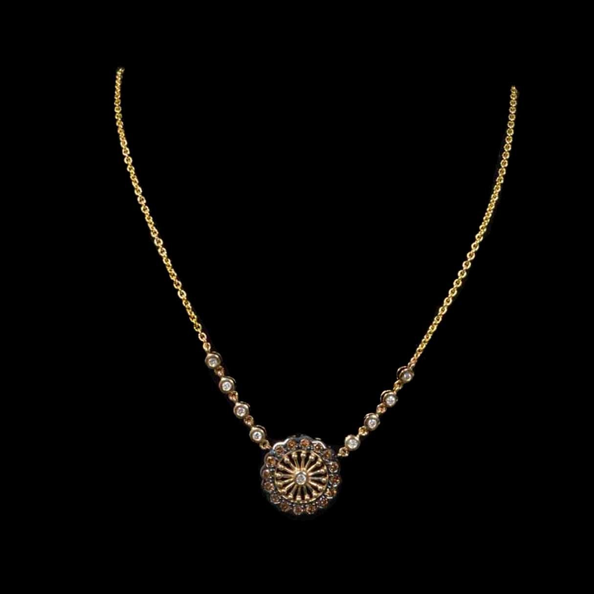 14K Gold Chocolate and White Diamond Necklace