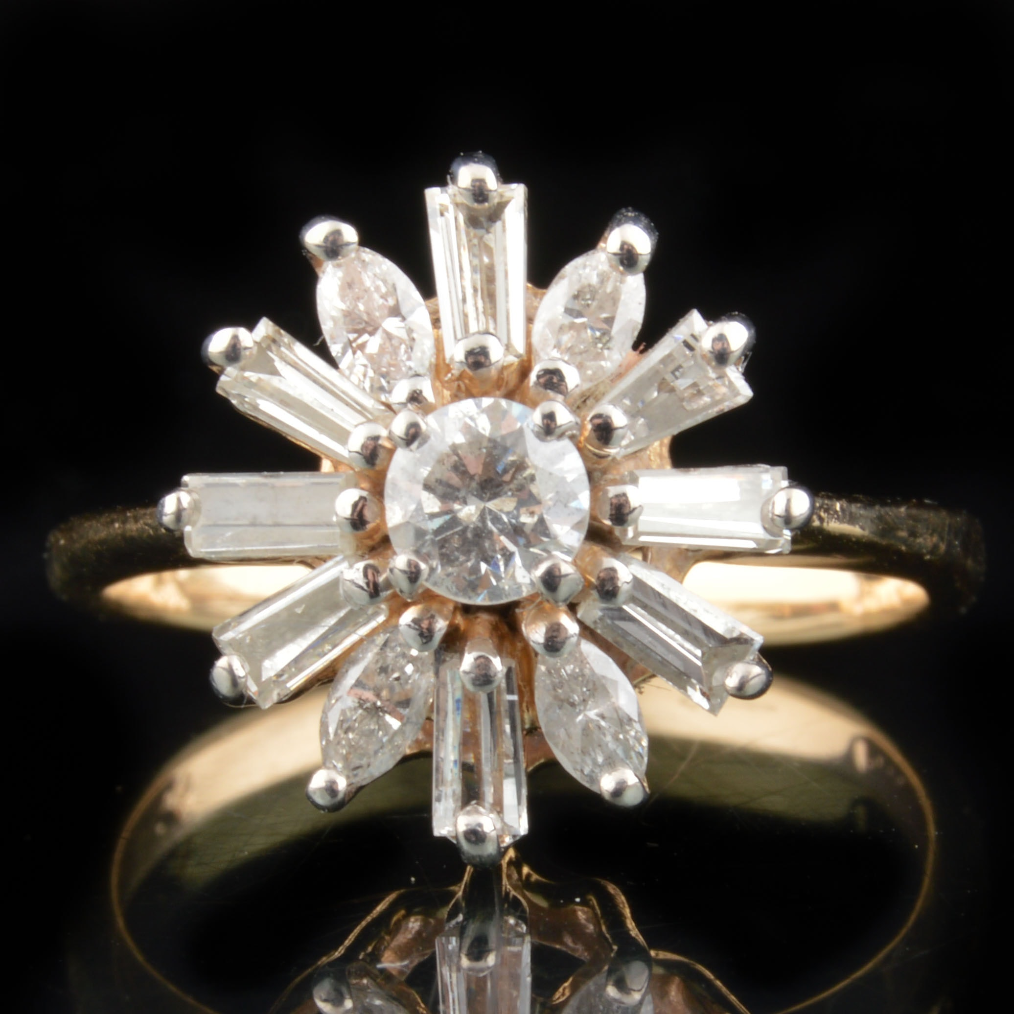 14K Yellow Gold and Diamond Flower Ring