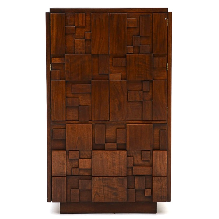 Lane Brutalist Style High Chest in Walnut Finish