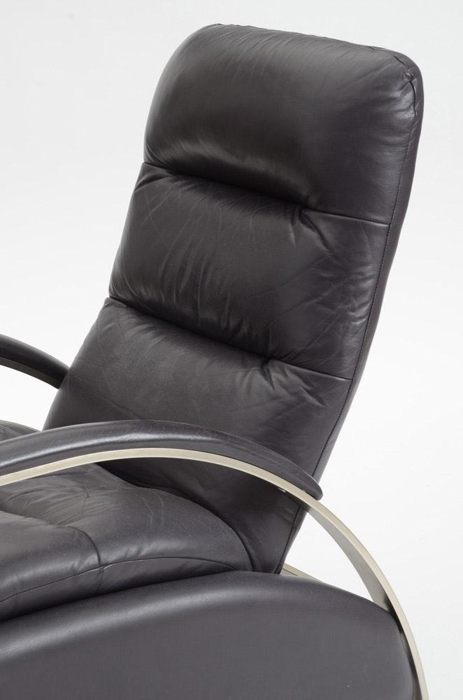 Ethan Allen Modern Style Leather Recliner Ebth