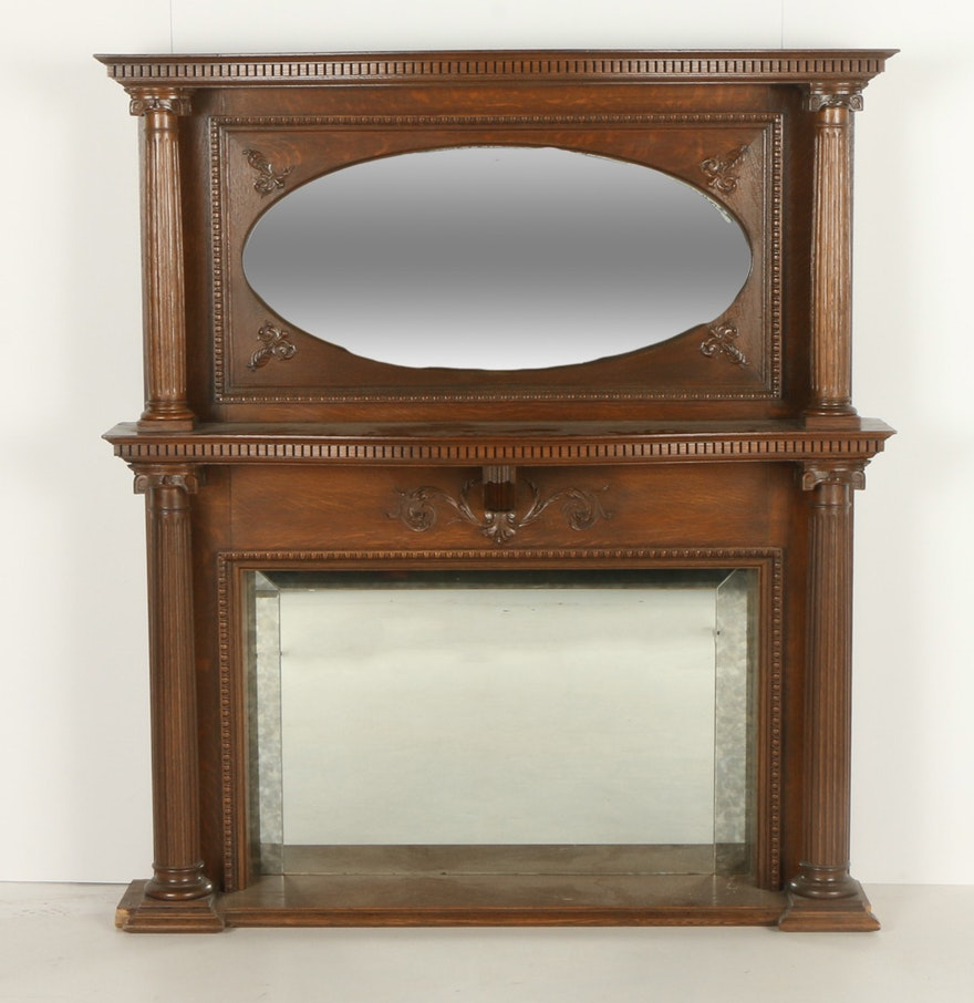 Traditional wood mantel with mirror ebth for Mantel mirrors