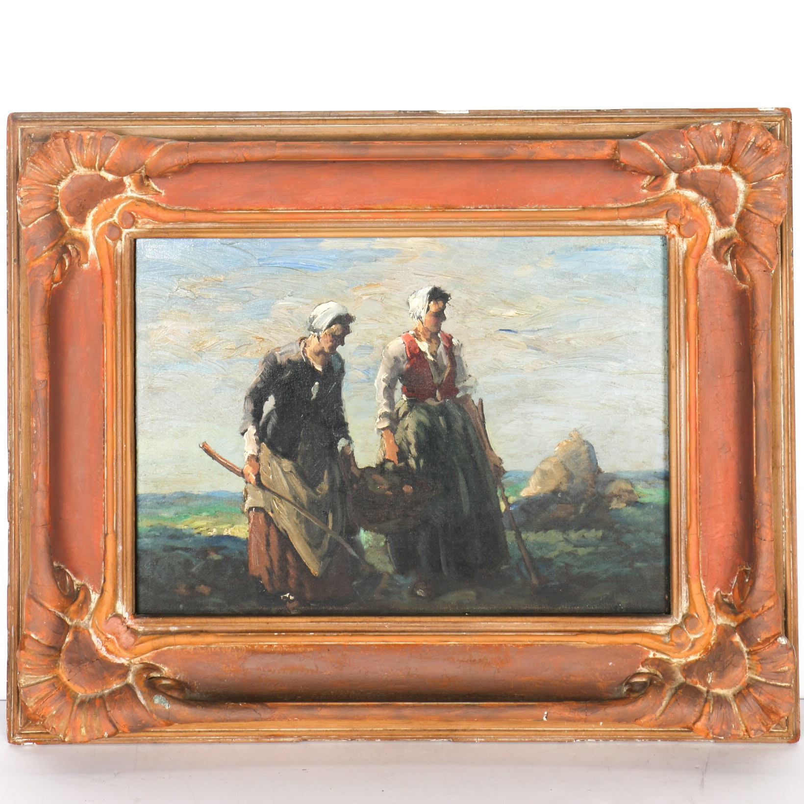Louis Jambor Oil on Canvas Two Peasant Women