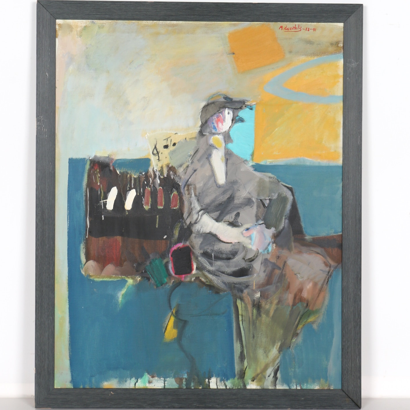 Moshe Rosenthalis Oil Painting on Canvas of A Figure by a Piano