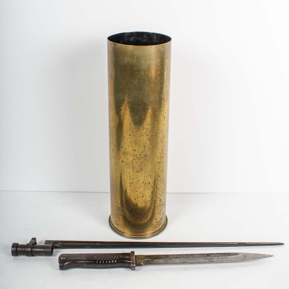 WWII German and Soviet Bayonets with Howitzer Shell Casing
