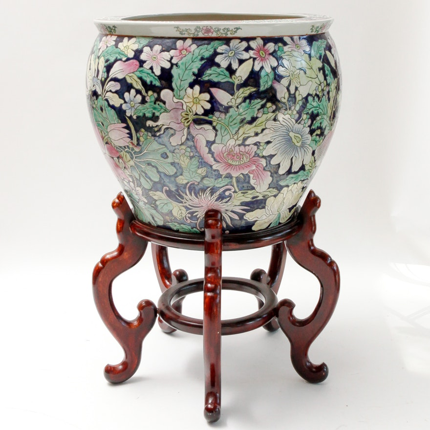 Chinese Porcelain Fish Bowl Planter On Stand