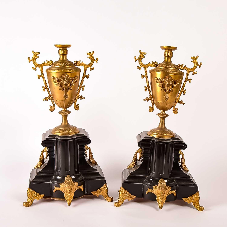Ornate Gold Tone and Stone Gargoyle Urn Set
