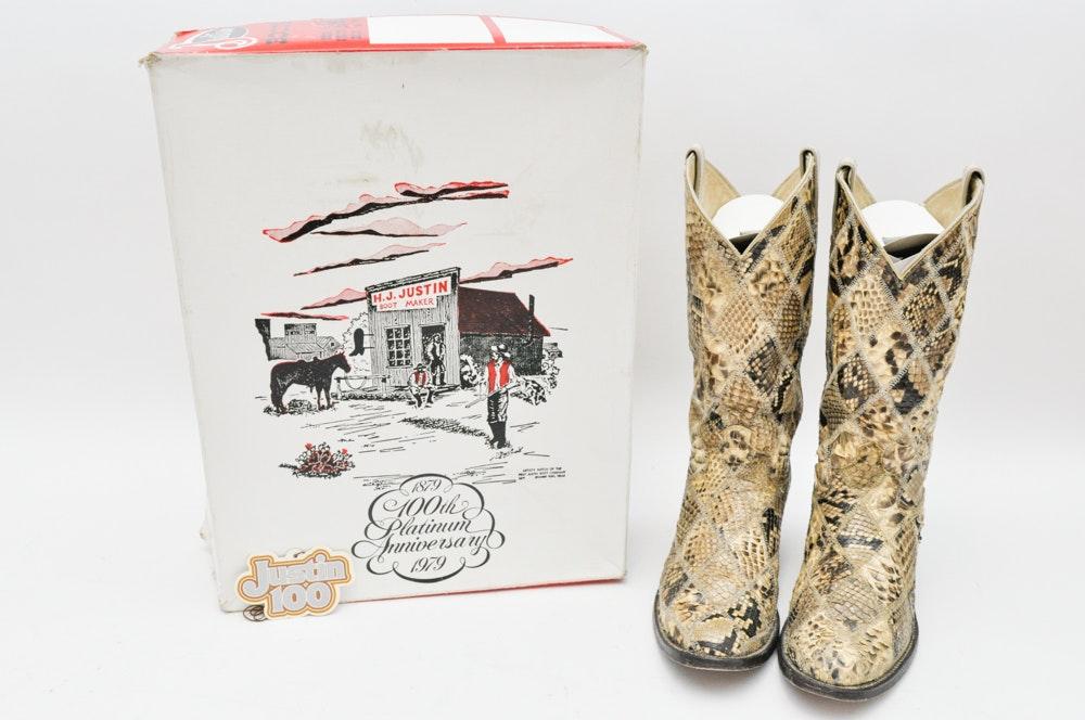 Justin Boots 100th Platinum Anniversary Snakeskin Cowboy Boots