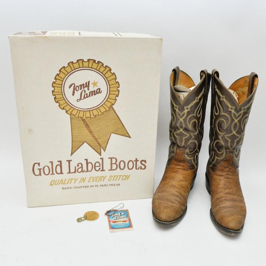 3a3082fd9f2 Vintage Tony Lama Honey Elephant Cowboy Boots