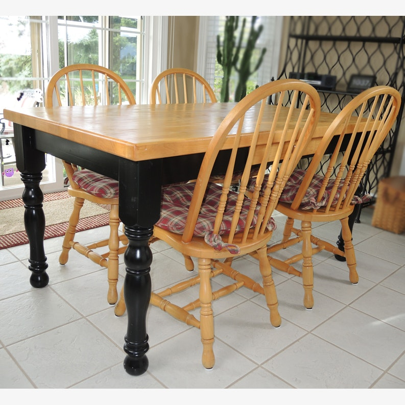 Whittier Oak Farmhouse Style Table And Four Chairs ...