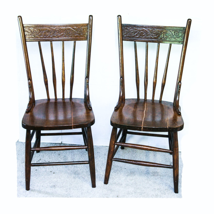 Pressed Back Dining Chairs ~ Two circa antique wood pressed back spindle dining
