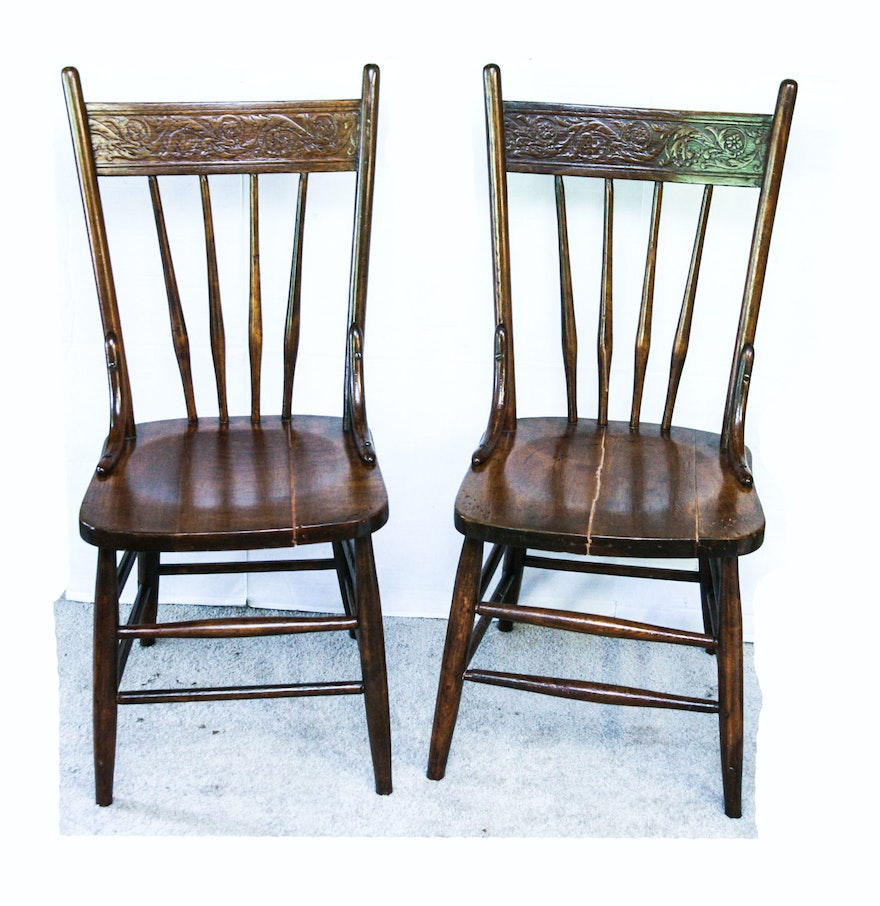 Antique wooden spindle chairs - Two Circa 1900 Antique Wood Pressed Back Spindle Dining Chairs