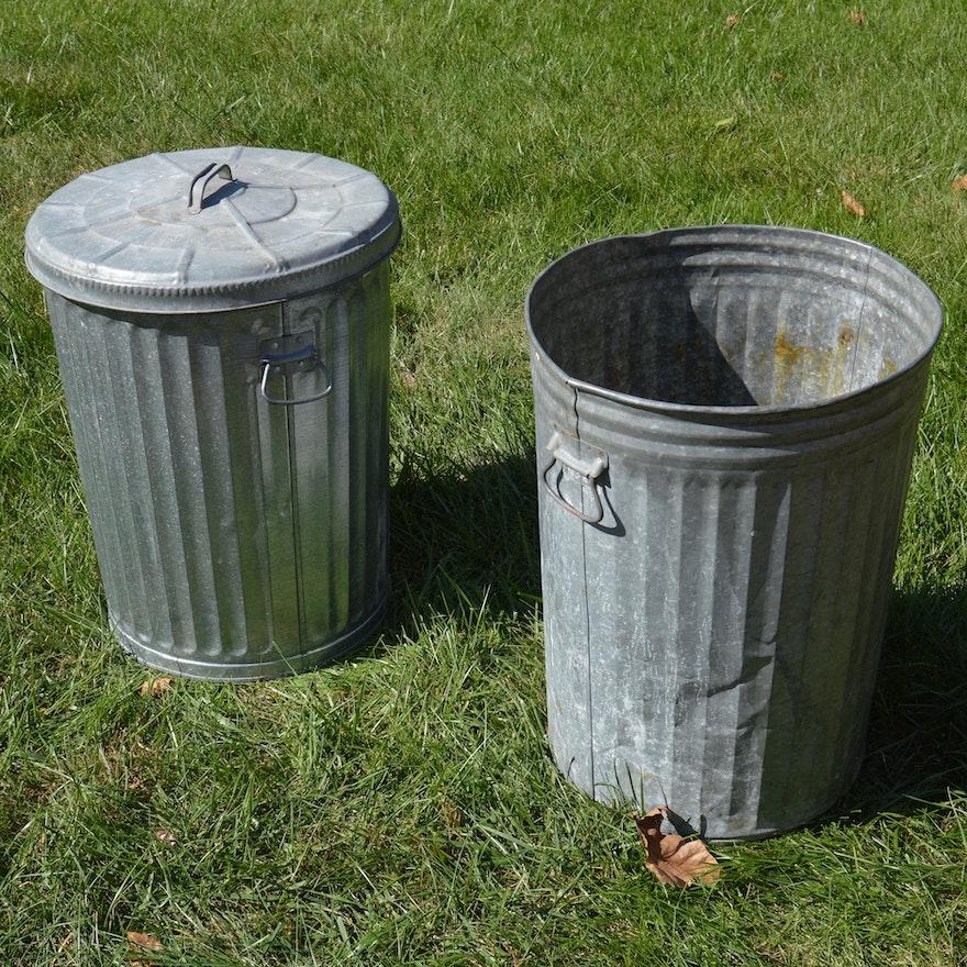 Aluminum Trash Cans : Two vintage wheeling metal trash cans ebth