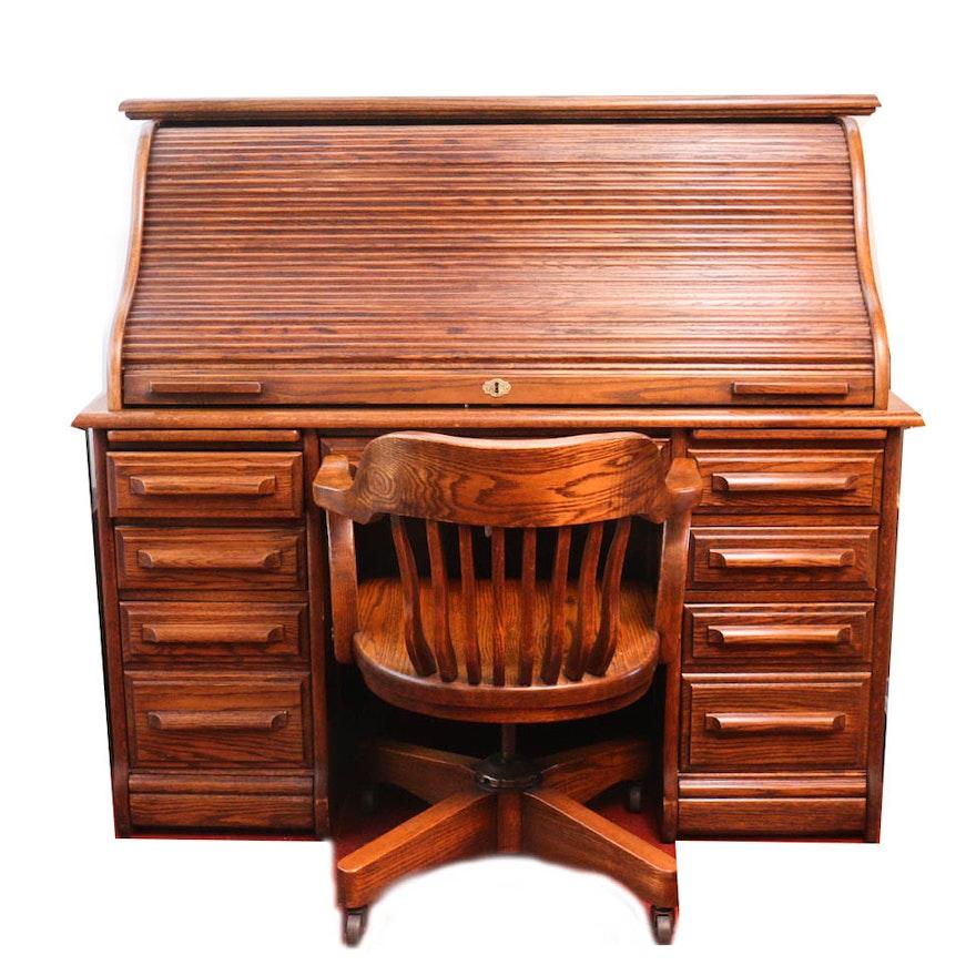 Oak Creek By Riverside Roll Top Desk With Chair
