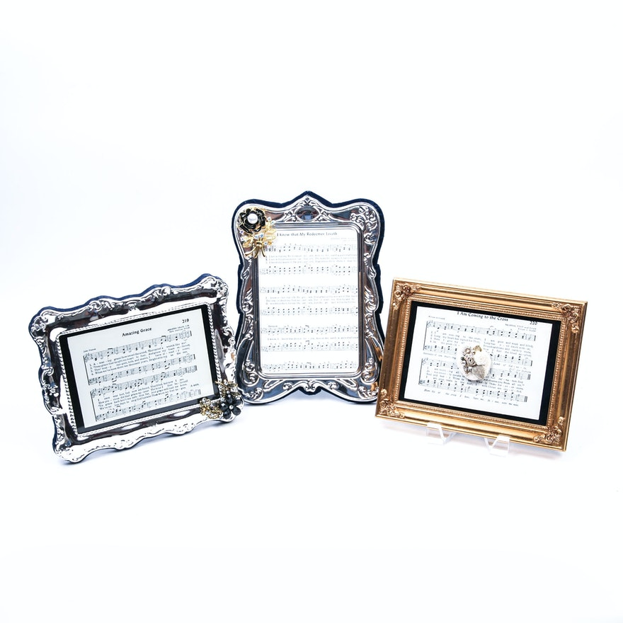 Rhinestone-Embellished Frames With Christian Theme Sheet Music : EBTH