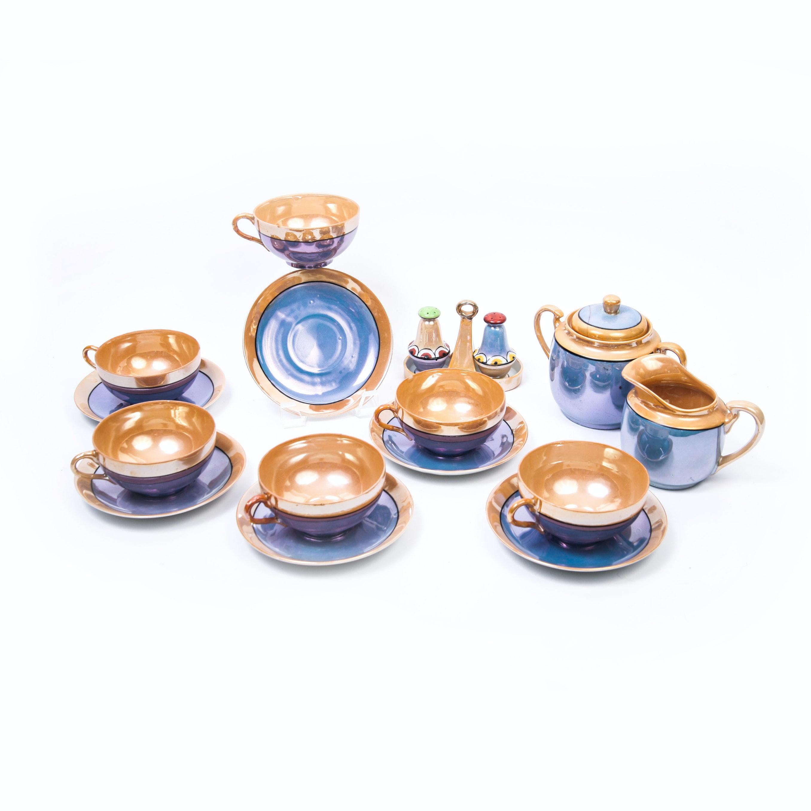 Japanese Lusterware Porcelain Tea Set