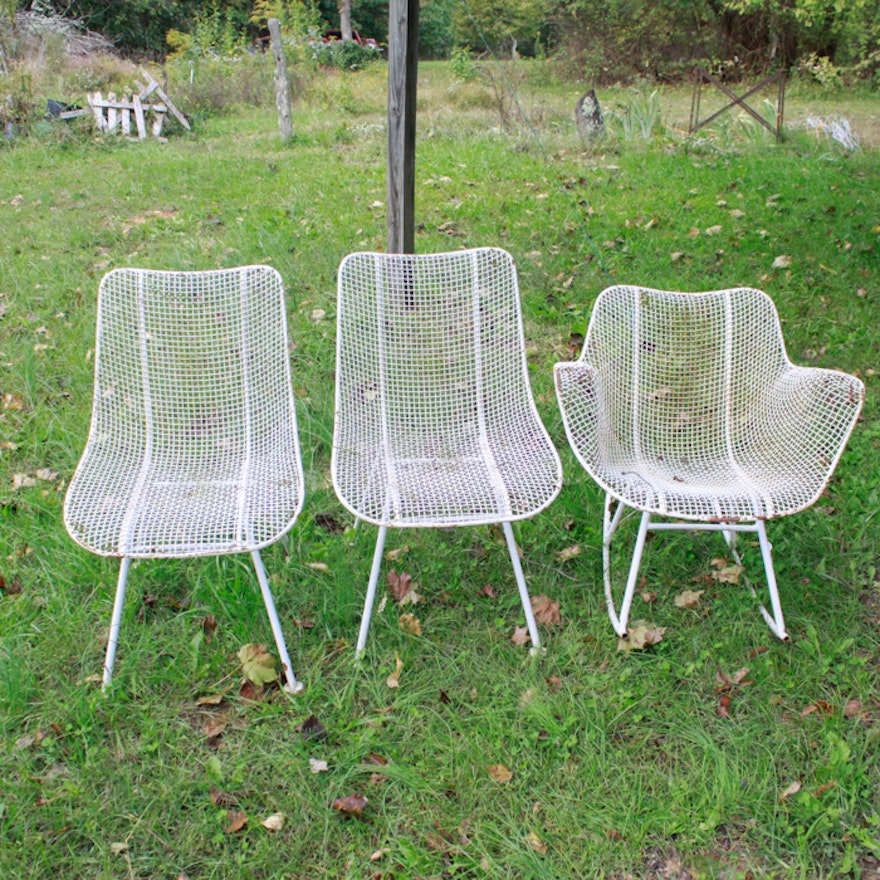 collection of russell woodard sculptura wire mesh chairs ebth
