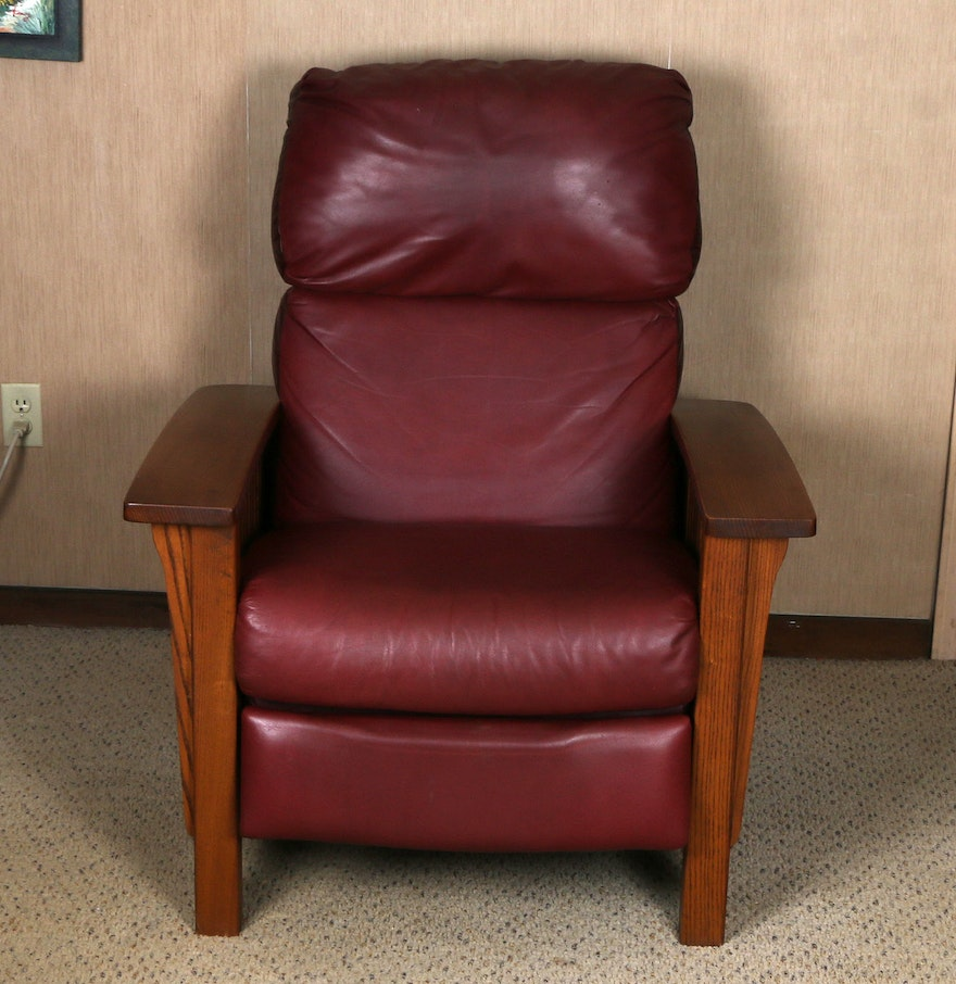 Mission Style Leather Recliner -