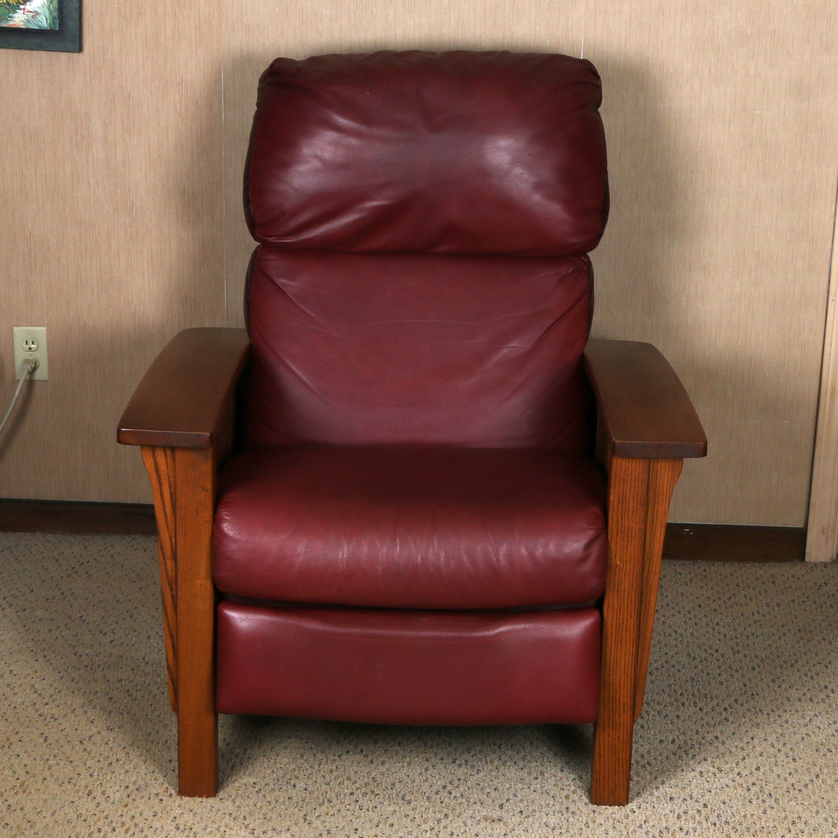 Early 21st Century Mission Style Leather Recliner By Barcalounger ...