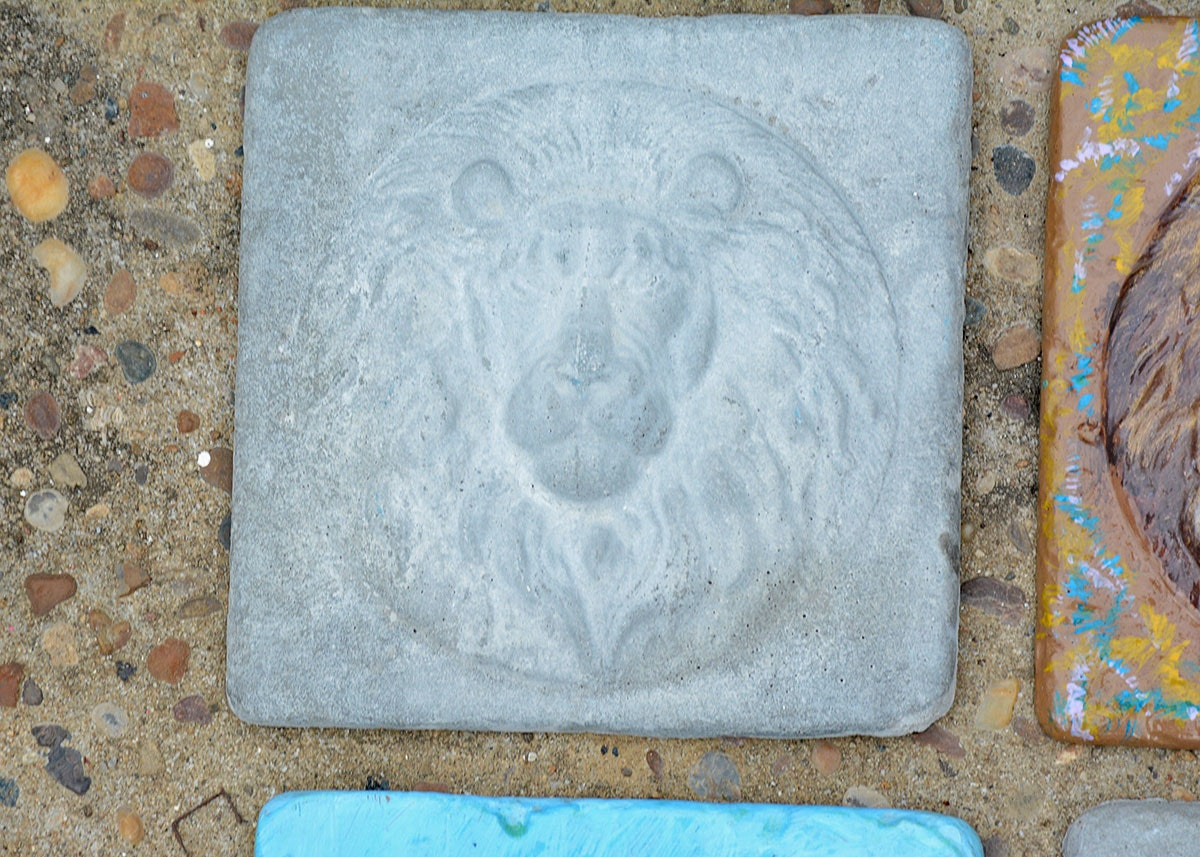 Outdoor themed wall decor : Animal themed hand poured concrete tile outdoor wall art