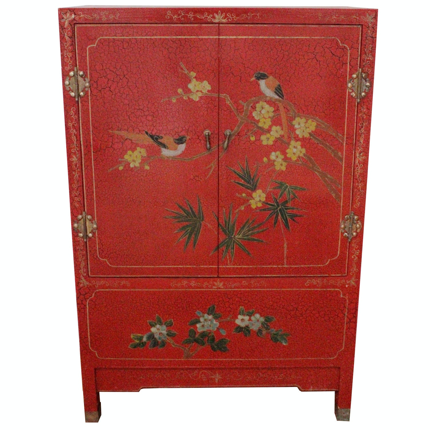 Superieur Small Red Chinoiserie Cabinet ...