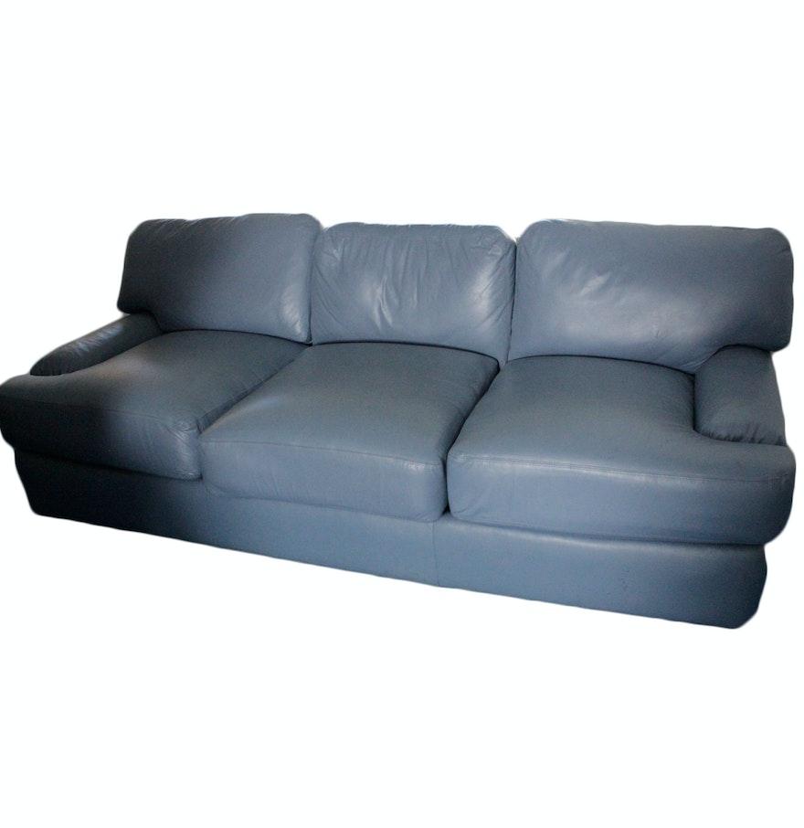 blue leather sofa ebth