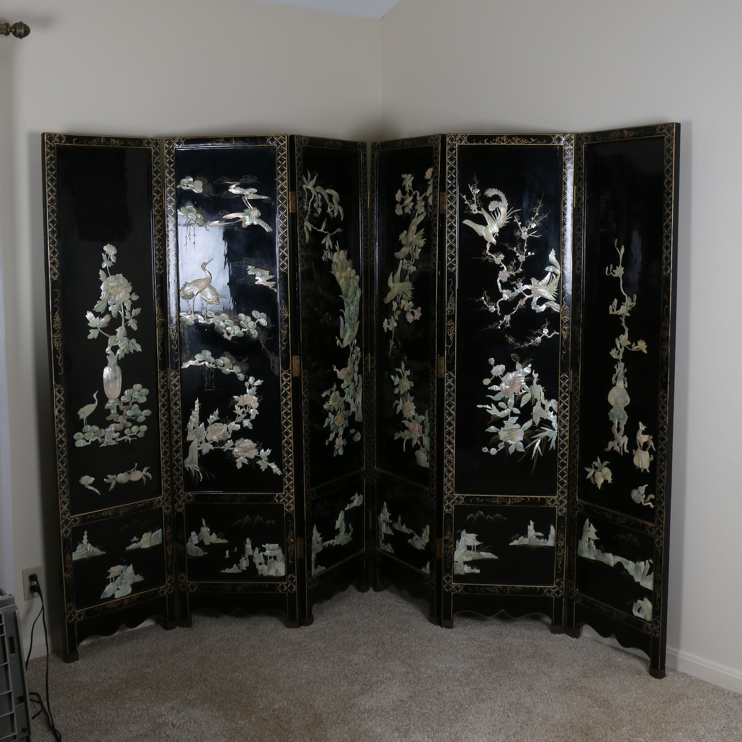 20th Century Chinese Style Six-Panel Room Divider