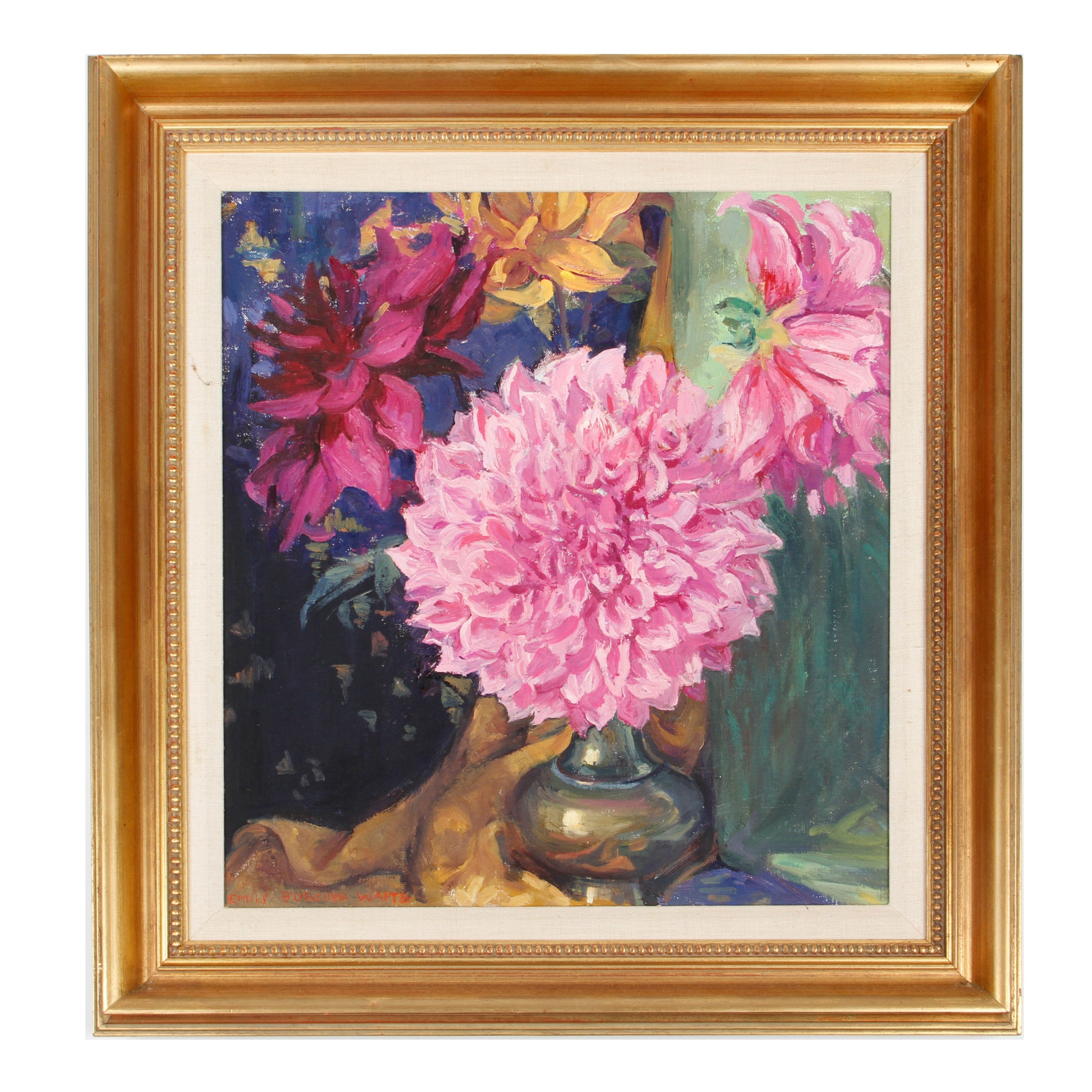 Emily B. Waite Oil Painting on Canvas of Dalias in a Vase