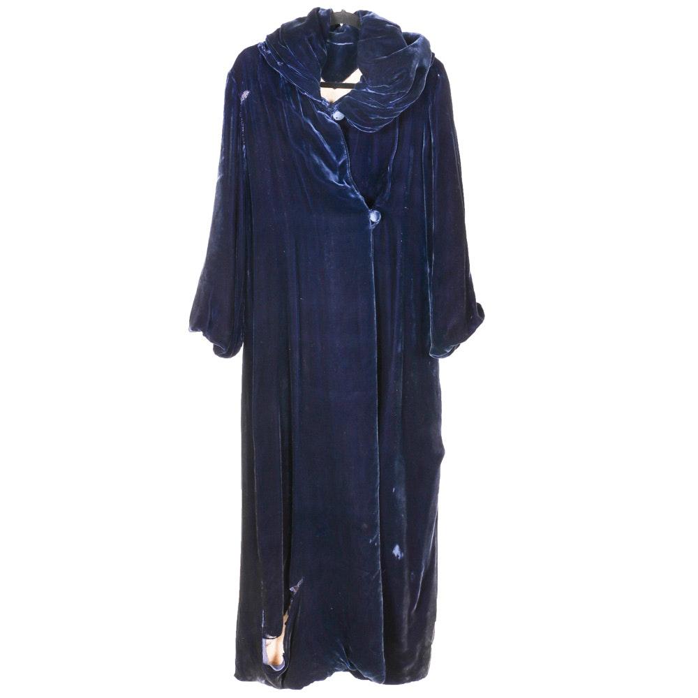 Lengthy Blue Velvet Coat