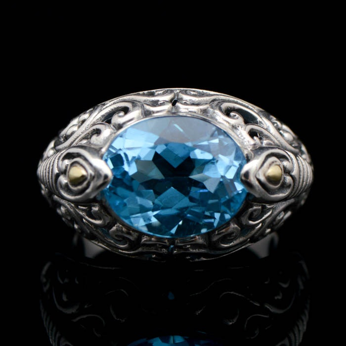 Robert Manse Sterling Silver, 18 K Gold and Swiss Blue Topaz Ring