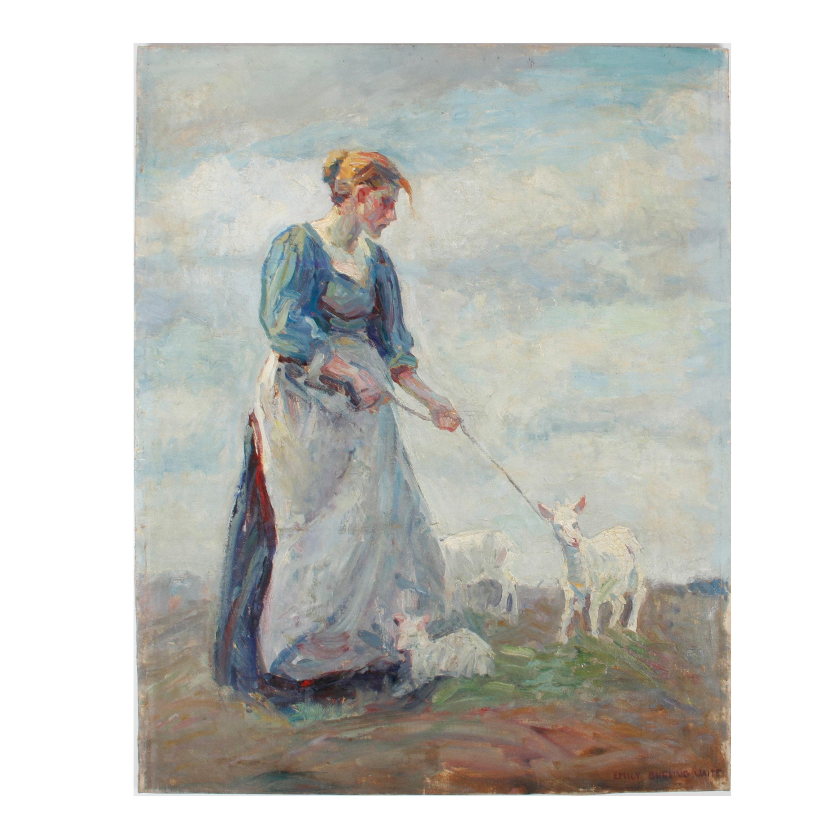 Emily B. Waite Woman Leading a Lamb Oil on Canvas