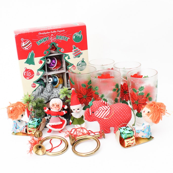 Bag of Vintage Christmas Ornaments and Decor