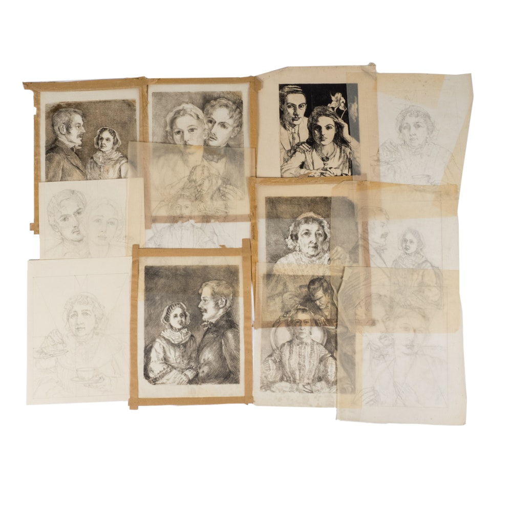 """Emily B. Waite Selections from """"Cranford"""" Graphite on Paper"""