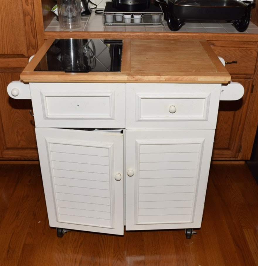 White Painted Kitchen Island With Marble Cutting Board Insert In Butcher Block Top