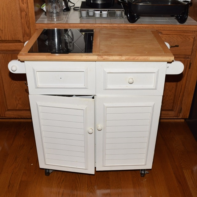 White Painted Kitchen Island With Marble Cutting Board Insert In Butcher  Block Top ...