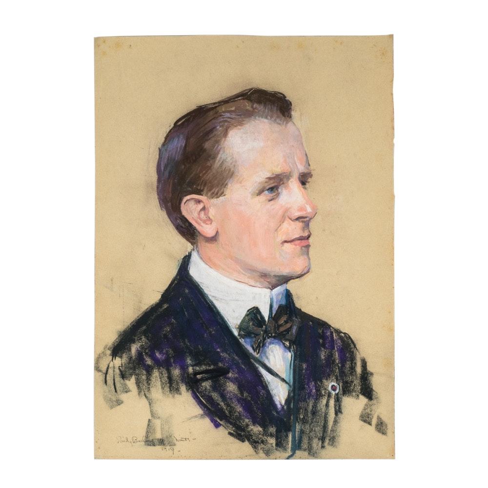 Emily B. Waite Portrait of a Gentleman Pastel on Paper