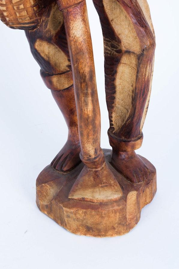 Pair of haitian wood carving figures ebth