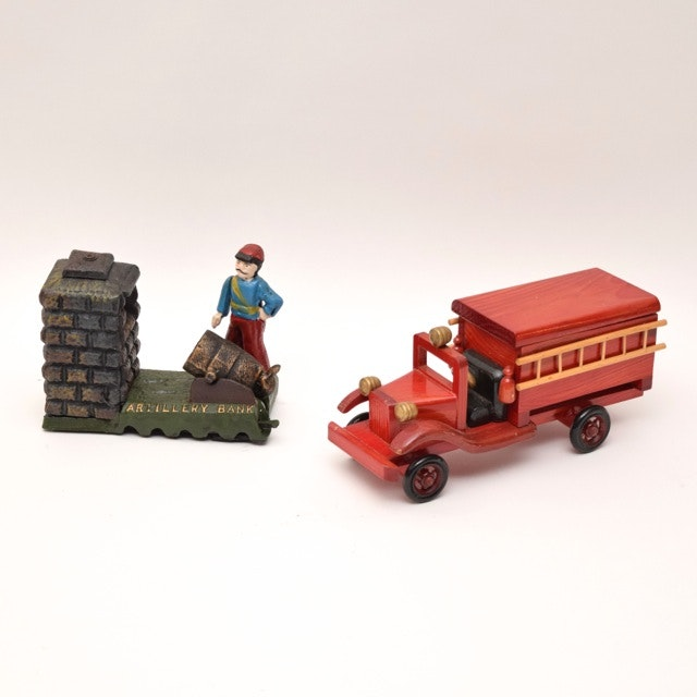 Cast Iron Artillery Coin Bank and Handmade Wood Fire Truck
