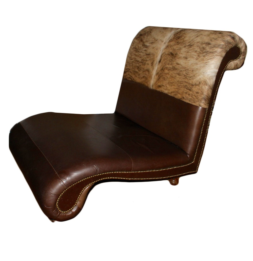 Oversized Cowhide Chaise Lounge Chair : EBTH