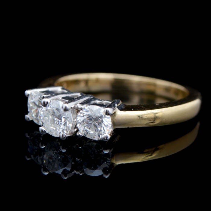 1.38 CTW Diamond and 14K Two-Tone Gold Three Stone Engagement Ring