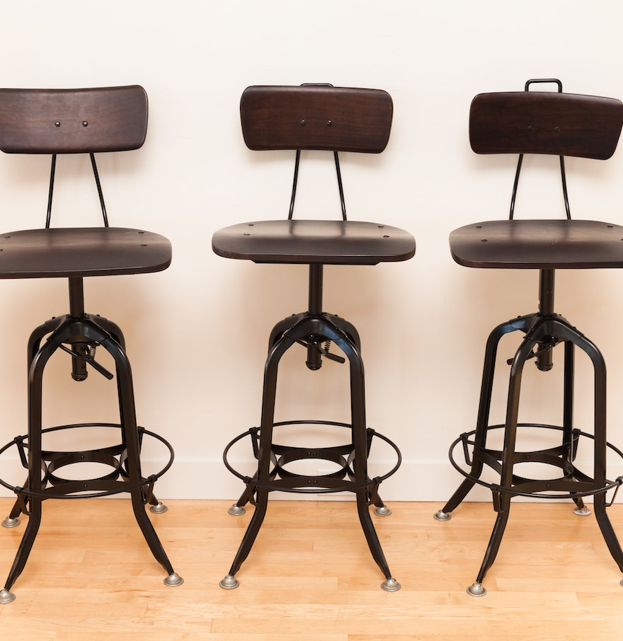 Three Industrial Style Counter Bar Stools Ebth
