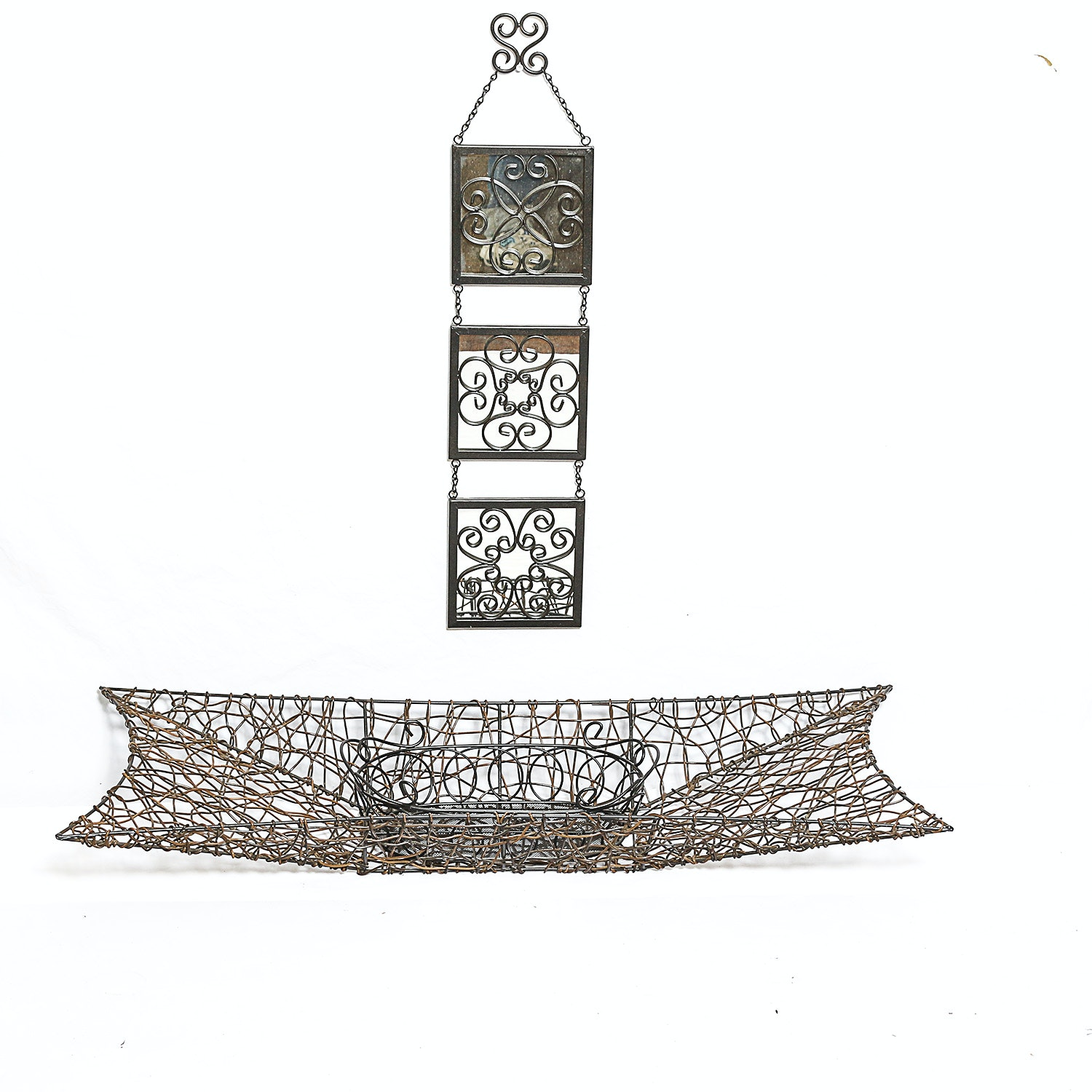 Metal Wall Decor and Woven Metal Basket