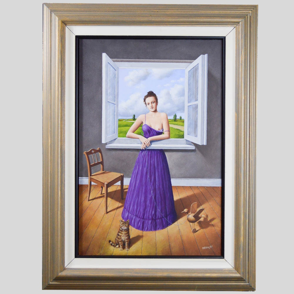 "Original Rafal Olbinski Painting Titled ""Magical Transparency of Time"""