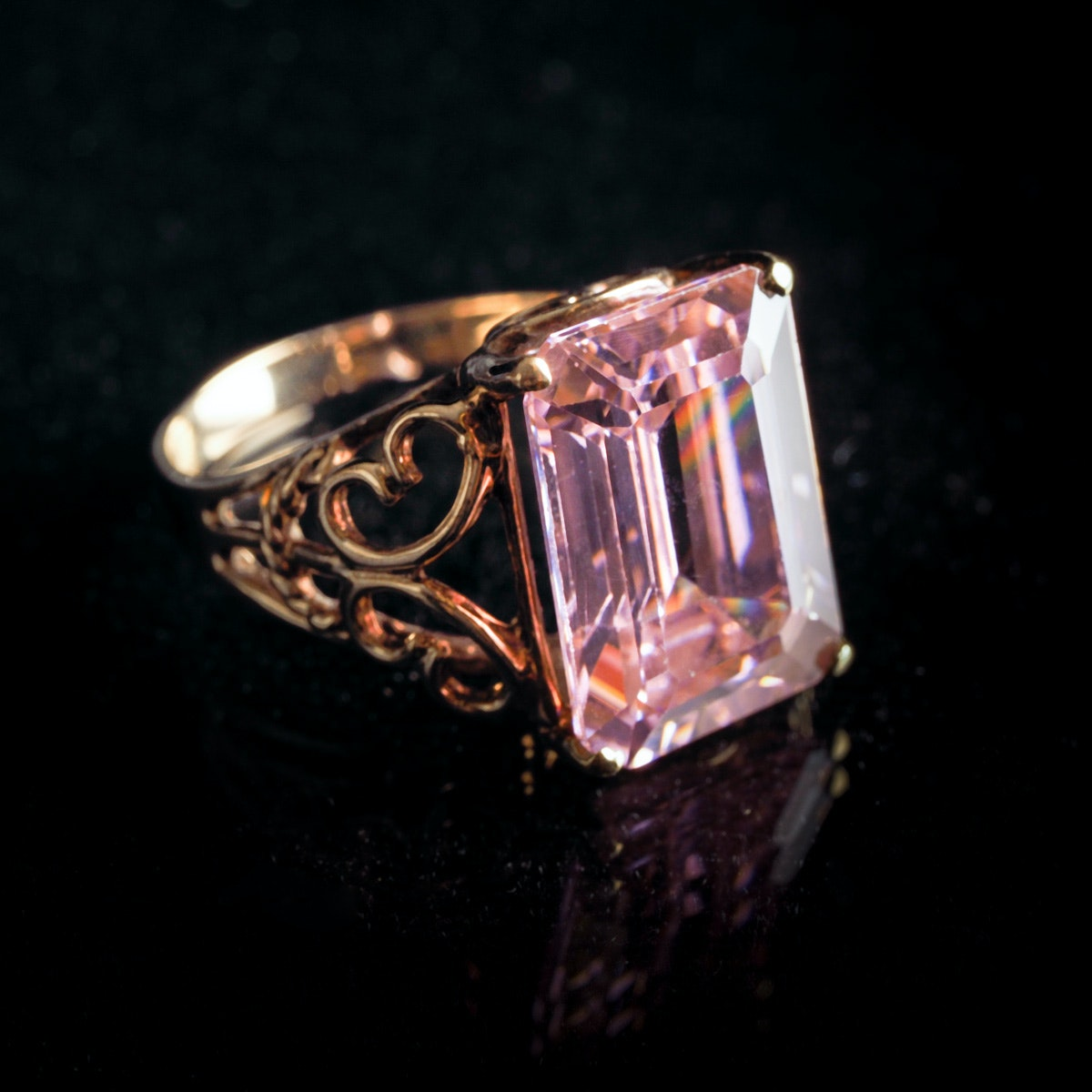 10K Yellow Gold Emerald Cut Pink Cubic Zirconia Cocktail Ring