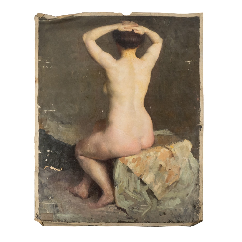 Emily B. Waite Portrait of a Seated Female Nude Unstretched Oil on Canvas