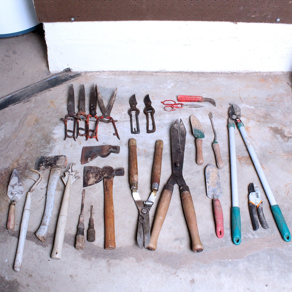 Assortment of Vintage Wood and Metal Hand Tools