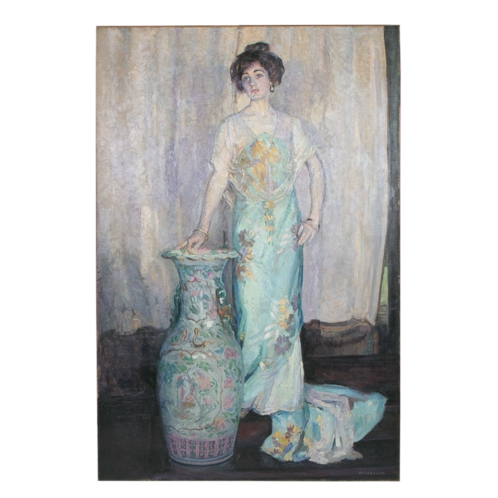 Emily B. Waite Woman with Chinese Vase Oil on Canvas