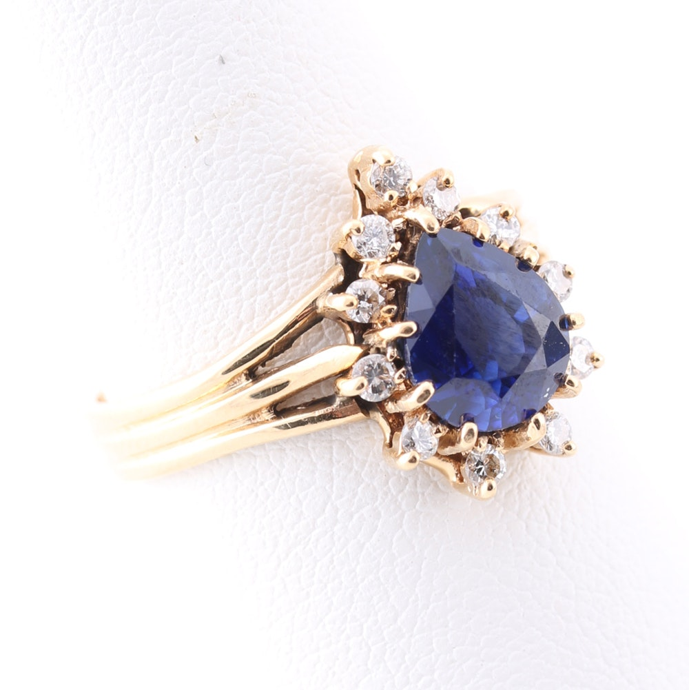 14K Yellow Gold Diamond Blue Sapphire Ring