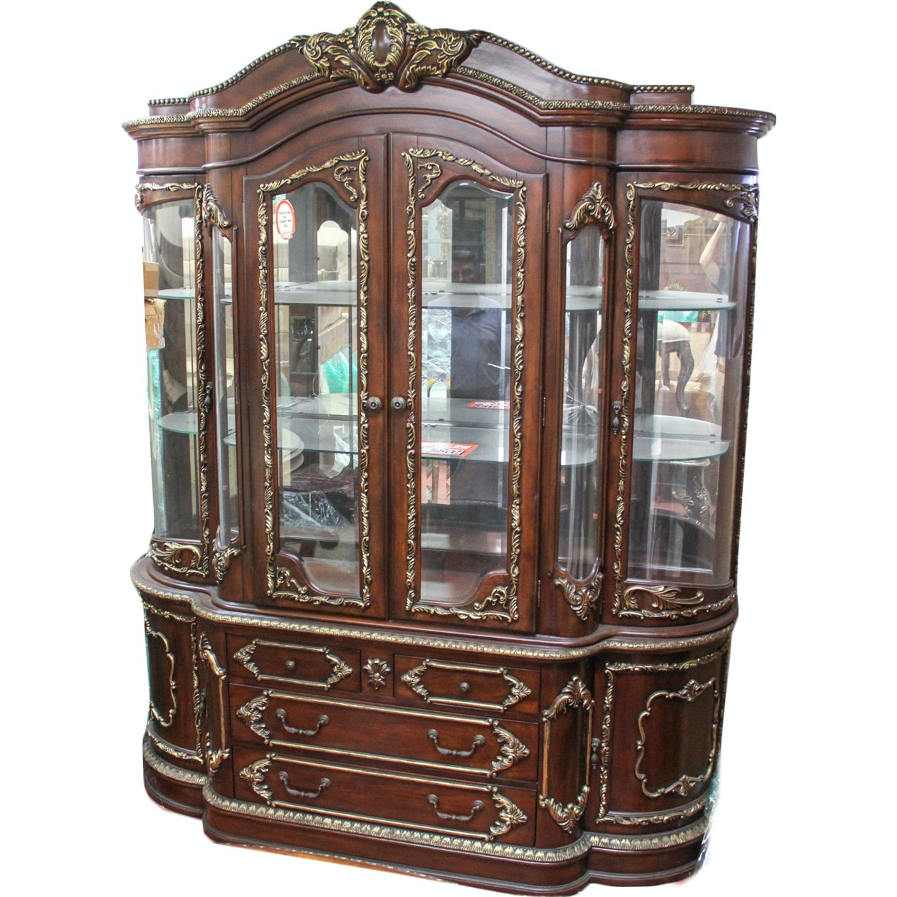 Large Baroque Style China Hutch