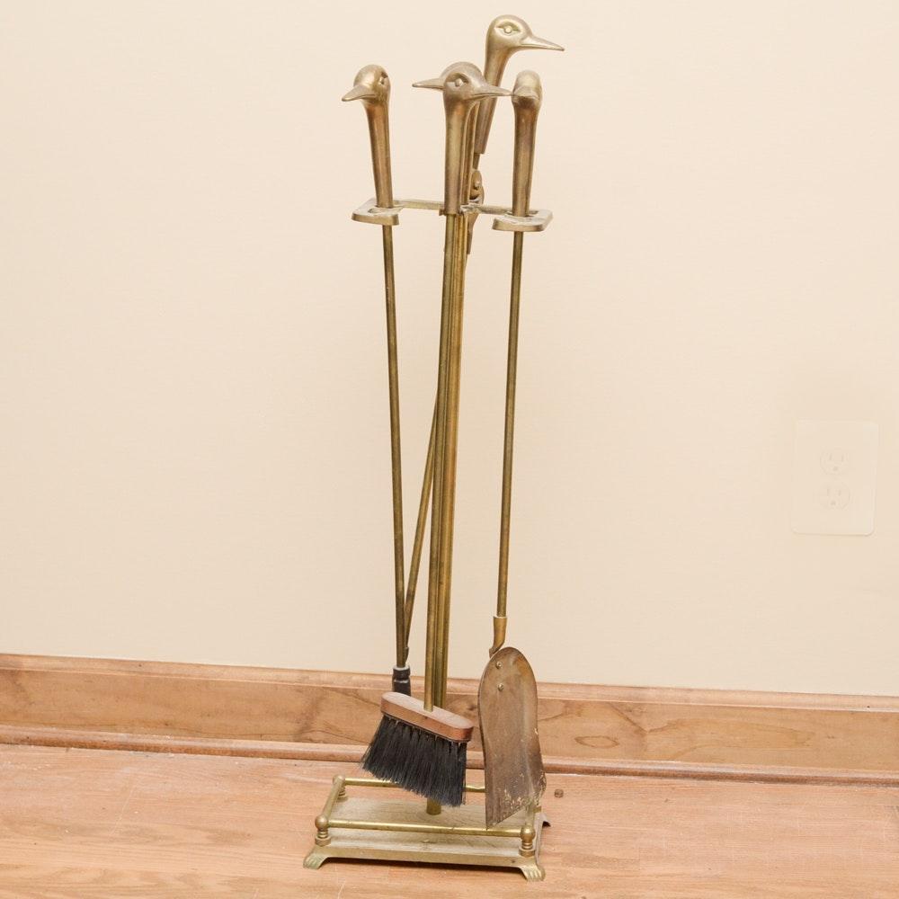 brass duck head fireplace tool set ebth