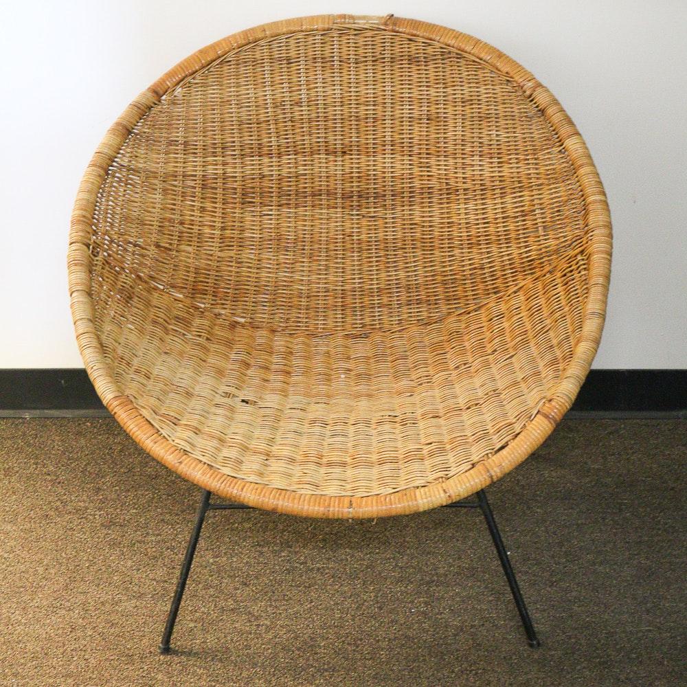 Vintage Rattan Saucer Chair